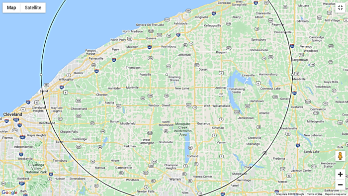map of Dr.Jeff ND's service area in Northeast Ohio